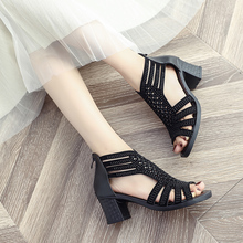 Women String Bead Square Heel Sexy  Shoes