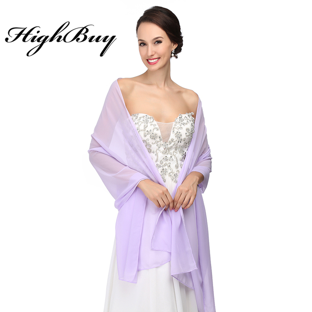 Highbuy Elegant Women Bridal Wraps White Chiffon Evening Dress Shawl