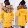 2015 nuevas muchachas del invierno ropa bebé, los niños de piel largo prendas de vestir exteriores, deporte sudadera con capucha hacia abajo abrigos para la muchacha, envío gratis