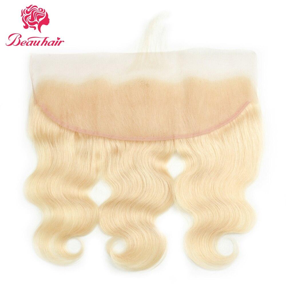 Beau волосы 613 # блондинка Средства ухода за кожей волна 2 Связки с 13*4 уха до уха Синтетический Frontal шнурка волос Малайзии 100% Человеческие волос...