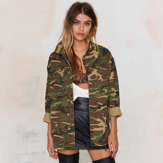 Women Jacket Coat Camouflage Coats 2017 Spring Vintage Camouflage Army Green Jackets Blouses Zipper Button Outwear Coats Blouse