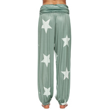womens casual trousers star-tightened loose-waisted Hallen trousers harem pants  pants women plus size stylish mid waisted printed loose fitting exumas pants for women