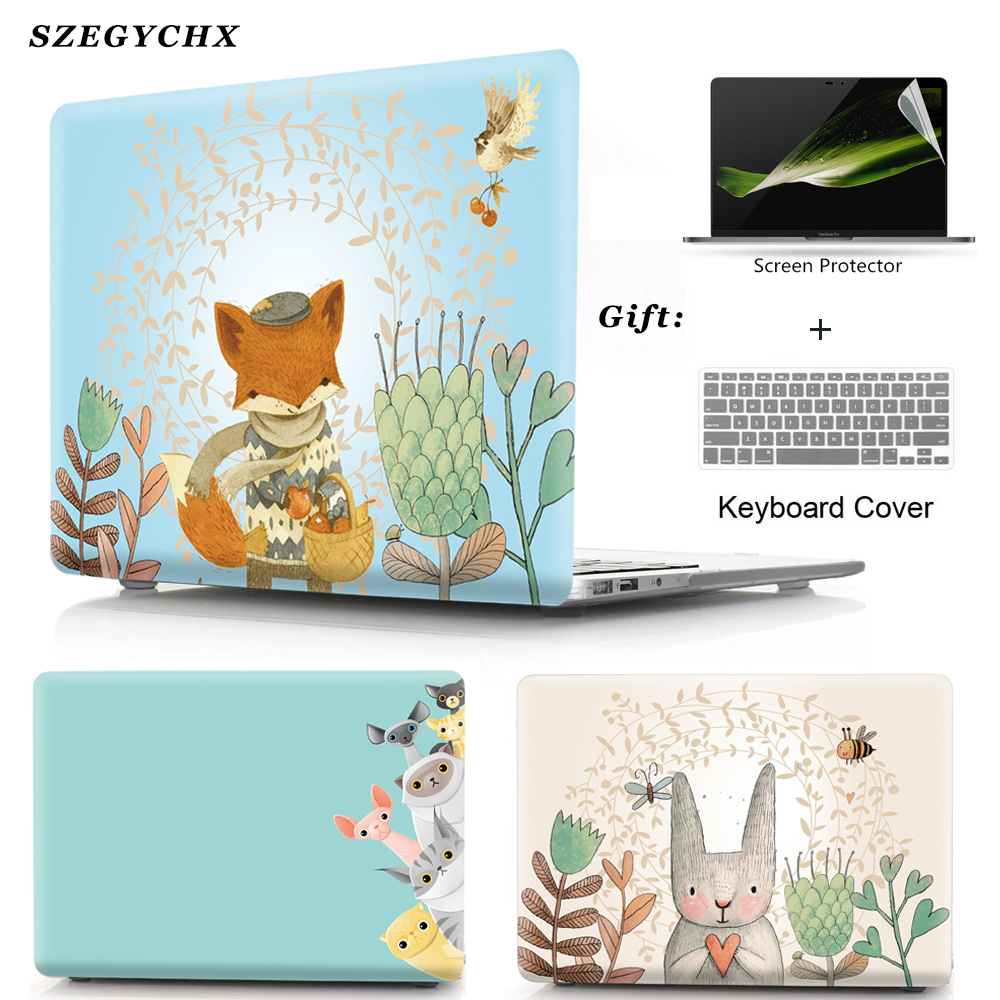 Hard Laptop Case For MacBook Air Pro Retina 11 12 13 15 13.3 Touch Bar For Mac Book New Air 13 A1932 2018 Cover +keyboard Cover