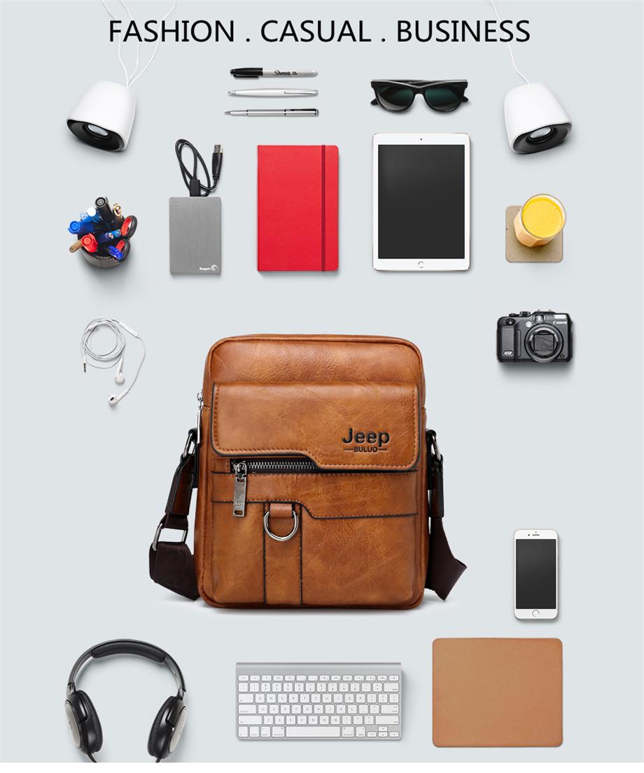 JEEP BULUO Luxury Brand Men Messenger Bags Crossbody Business Casual Handbag Male Spliter Leather Shoulder Bag Large Capacity 15