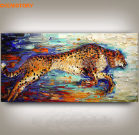 CHENISTORY Leopard Handpainted Oil Painting Home Wall Art Picture Large Modern Palette Knife Painting For Living