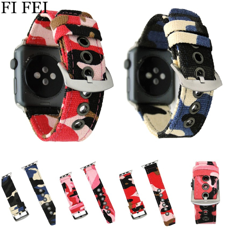 FI FEI Camouflage Canvas Band Strap For Apple Watch Band 42mm 38 mm Sport Wrist Bracelet Watchband For i Watch Band Series 3/2/1