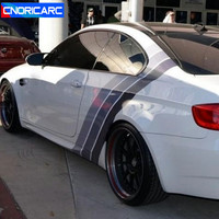 CNORICARC Tricolor Lines Customized Vinyl Decal Car Body Door Side Stickers Stripes Racing Styling For BMW Audi KIA Honda Toyota