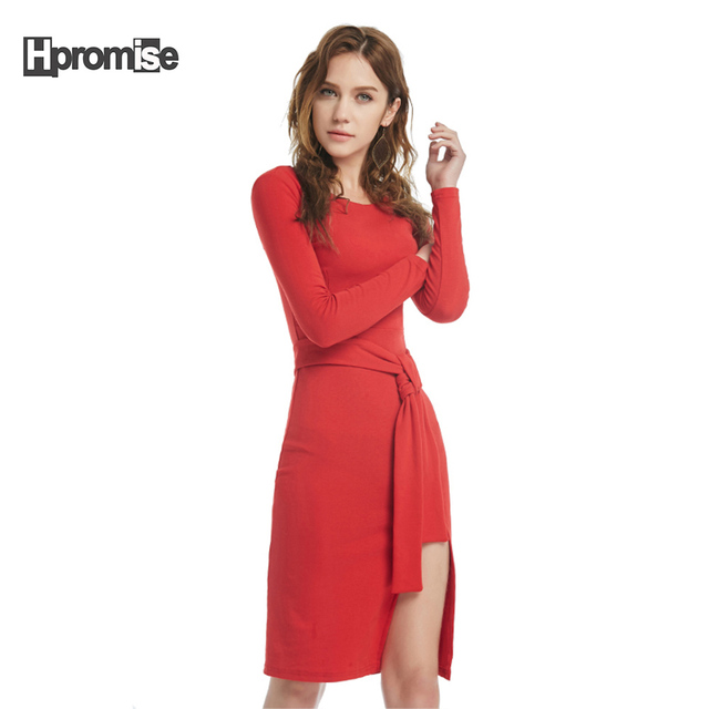 Us 22 91 7017 Summer Dress Women Sexy O Neck Long Sleeve Office Dress Red Beach Wedding Guest Party Dresses Plus Size Side Split In Dresses From