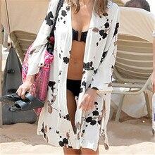 Print Tunic Robe Swimwear Beach Cover-up