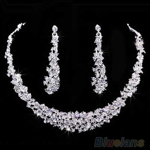 2016 New ArrivalSumptuous Bridal Wedding Prom Jewelry Crystal Rhinestone Diamante Necklace & Earring Set 7FZI 9SJ8