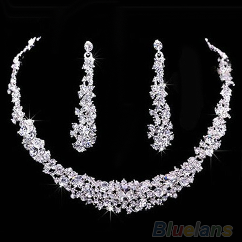2016 New ArrivalSumptuous Bridal Wedding Prom Jewelry Crystal Rhinestone Diamante Necklace & Earring Set 7FZI 9SJ8