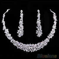 2016 neue ArrivalSumptuous Braut Hochzeit Prom Schmuck Kristall Strass Diamante Halskette & Ohrring Set 7FZI 9SJ8