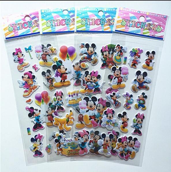 12pcs/set Children Lovely Mouse Sticker Dimensional 3D Cartoon PVC Bubble Stickers Girls/boys Birthday Gift Children Toys