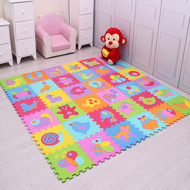 مجموعة مكونة من 9 قطعة/المجموعة من سجادة لعب الأطفال مصنوعة من الفوم إيفا سجادة زاحفة للأطفال سجادة كروبن للأطفال سجادة ألغاز مجمعة على شكل حيوانات لألعاب الأطفال