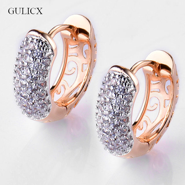 Gulicx Round Crystal Earrings For Women Gold Color Hoop Cz Stone Cubic Zirconia Earring