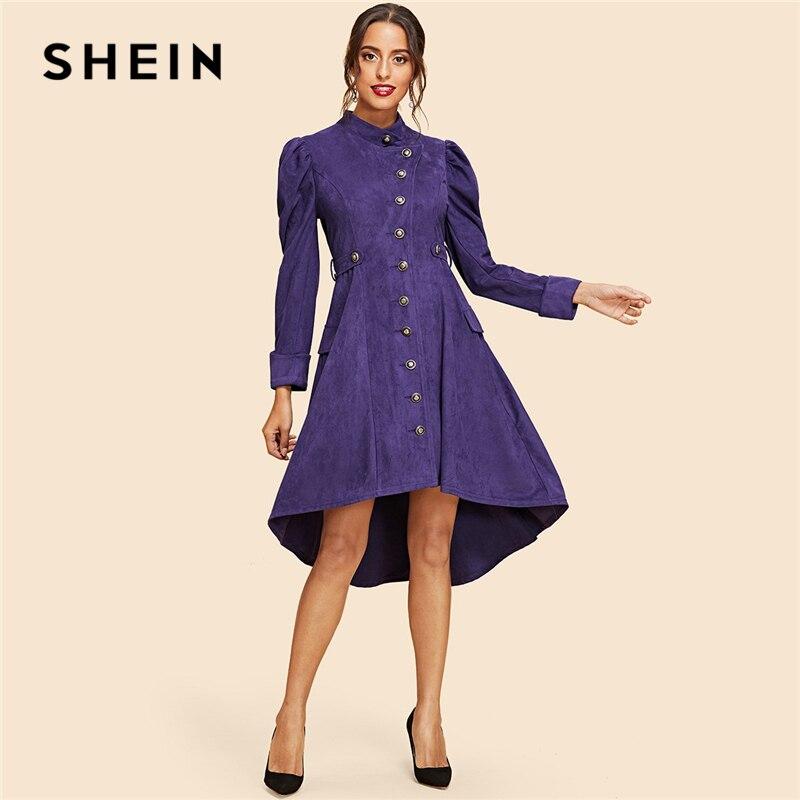 Шеин фиолетовые элегантные брюки-баранина рукавом высокая низкая замши Стенд воротник расклешенное платье осень современной леди Повседн...