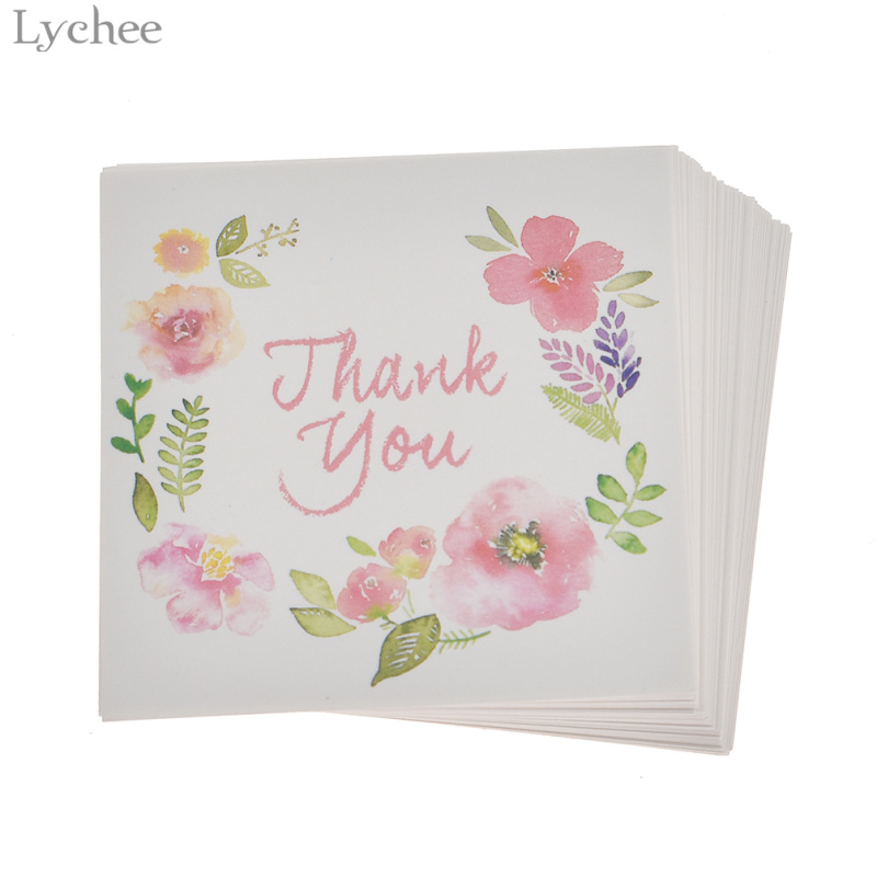 Lychee 50pcs Thank You And Flowers Card Invitations Leave Message Cards Greeting Card For Wedding Birthday New Year Decoration