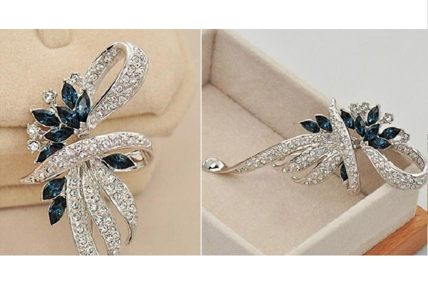 SHUANGR Luxury Crystal Flower Brooch Lapel Pin Rhinestone Jewelry Women Wedding Hijab Pins Large Brooches For Women brooches 15