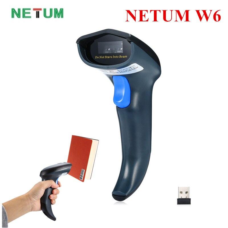 Lecteur de codes à barres CCD sans fil NETUM W6 2.4 GHz lecteur filaire USB2.0 sans fil pour le paiement sur écran Mobile