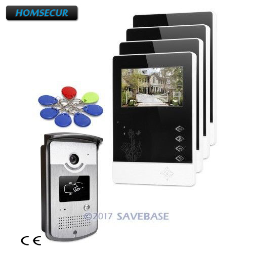 HOMSECUR 1V4 Kit 4.3inch Wired Video Door Entry Call System with Intra-monitor Audio Intercom for Apartment