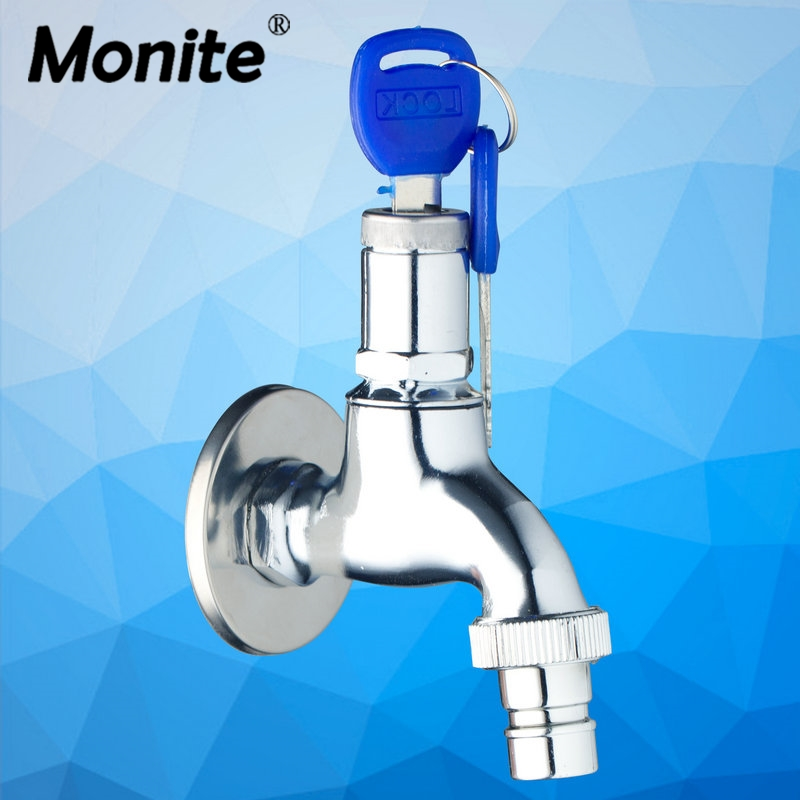 Bathtub Faucets Audacious Chrome Plastic Torneira Washing Machine Bathroom Single Cold Wall Mounted Key Lock Switch 2018 Sink Faucets,mixers &taps Home Improvement