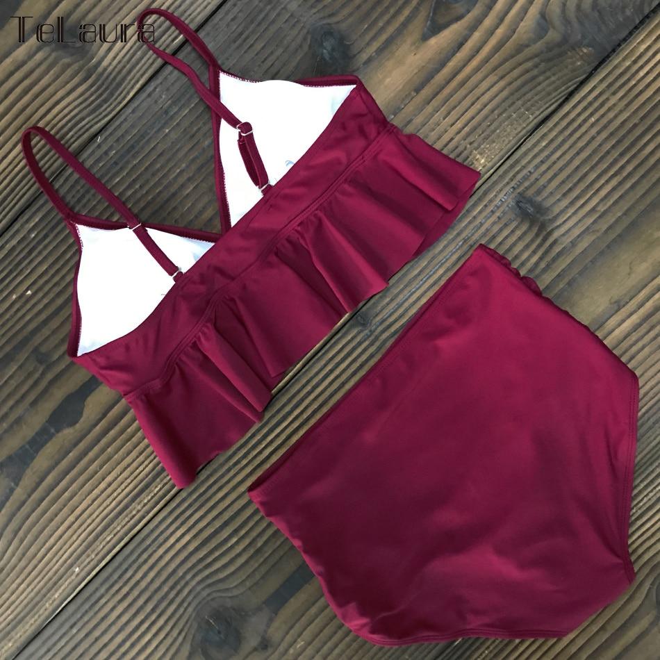 2019 New Sexy High Waist Bikini Swimwear Women Swimsuit Push Up Ruffle Bathing Suit Biquini Plus Size Swimwear Female Beach Wear