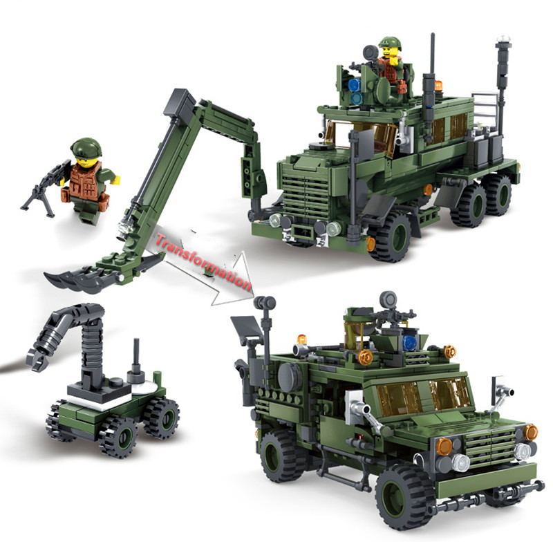 NEW 560Pcs Field Army Series Deformation M-ATV Minesweeping Car Military Children Gifts Building Blocks KAZI Educational Toys 128pcs military field legion army tank educational bricks kids building blocks toys for boys children enlighten gift k2680 23030