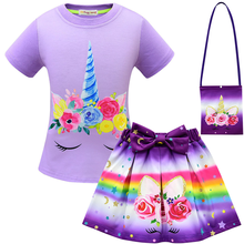2019 new unicorn  Cosplay girl three-piece suit 3-10Y fashion casual cotton T-shirt