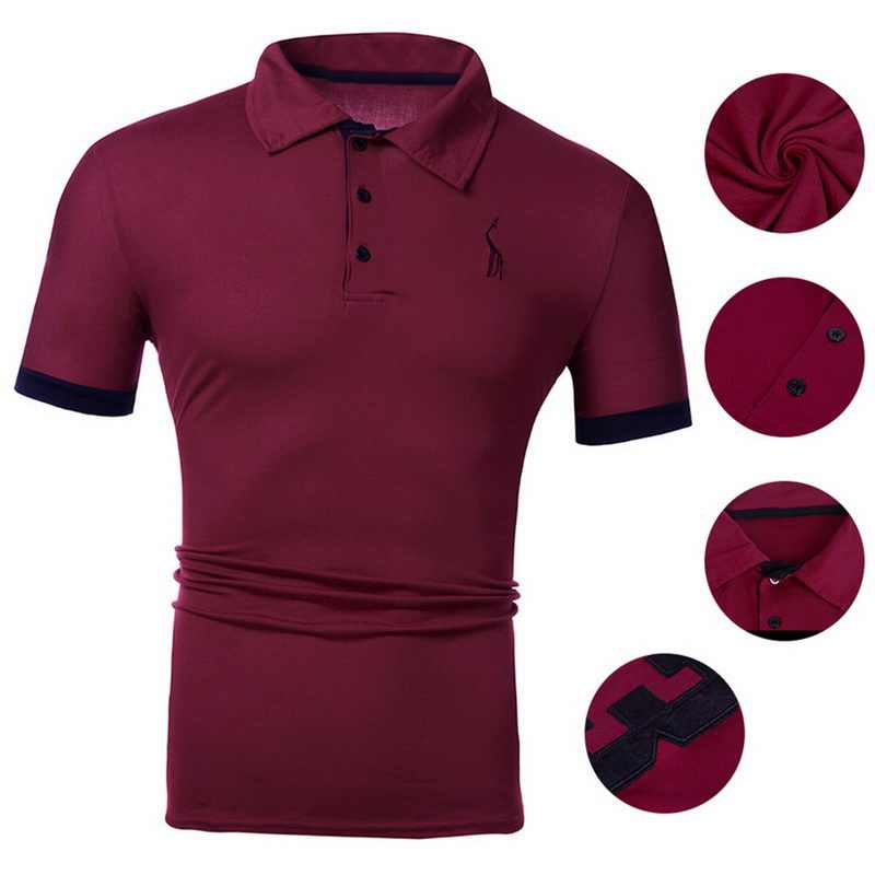 Classic Solid Polo Shirt Men Button Short Sleeve Polo Homme Casual Deer Print Polo Hombre Turn-down Collar Slim Summer Polos