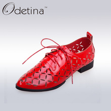 Odetina 2017 Spring&Summer Women Lace Up Derby Shoes Women Pointed Toe Casual Shoes Fashion Hollow Flat Silver Ladies Shoes