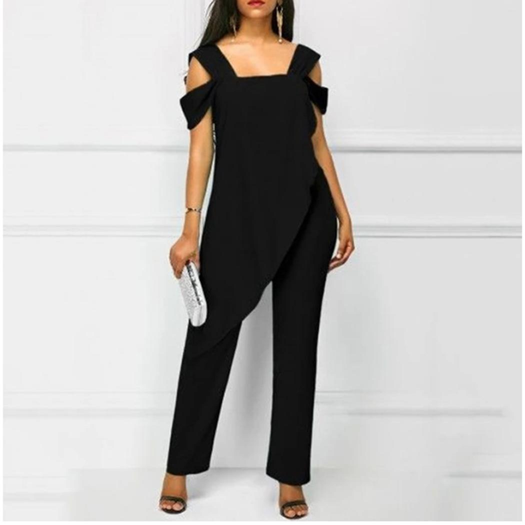 Women Casual Square Neck Sleeveless Solid One-Piece, Ruffles Mid Waist Ankle Length Hem Jumpsuits Summer(China)