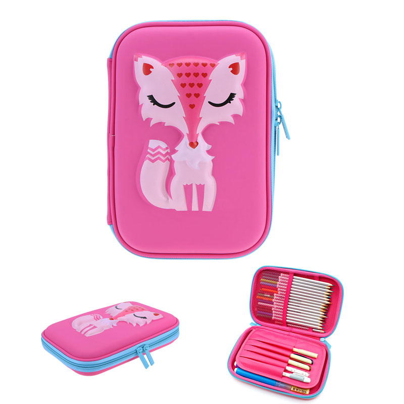 VODOOL EVA Cute Pencil Case For School Office Cartoon Fox Large Capacity Stationery Pen Holder Organizer Box Escolar Papelaria