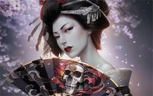 Living room home wall decoration fabric poster Fantasy japanese girl geisha kimono  fan skull