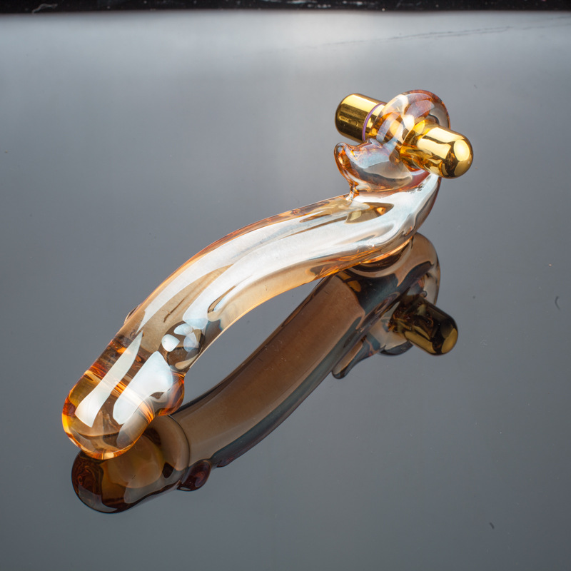 Graceful Curve Golden Glass Dildo Vibrator Fake Penis Anal -9648