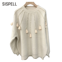 SISPELL Autumn Knitting Female Sweater For Women Top Long Sleeve Loose Pullovers Tassel Sweaters Jumper Clothes