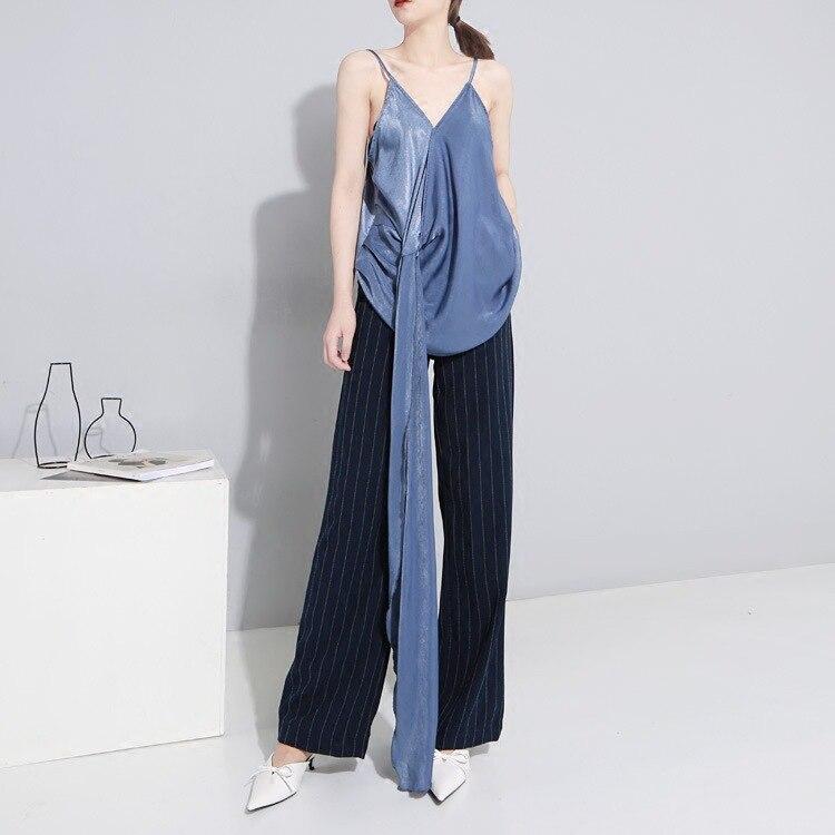 New! So Soft! 2018 European south Korean sexy womens 2018 summer vest sleveless v-neck halter tops tanks camis blue black