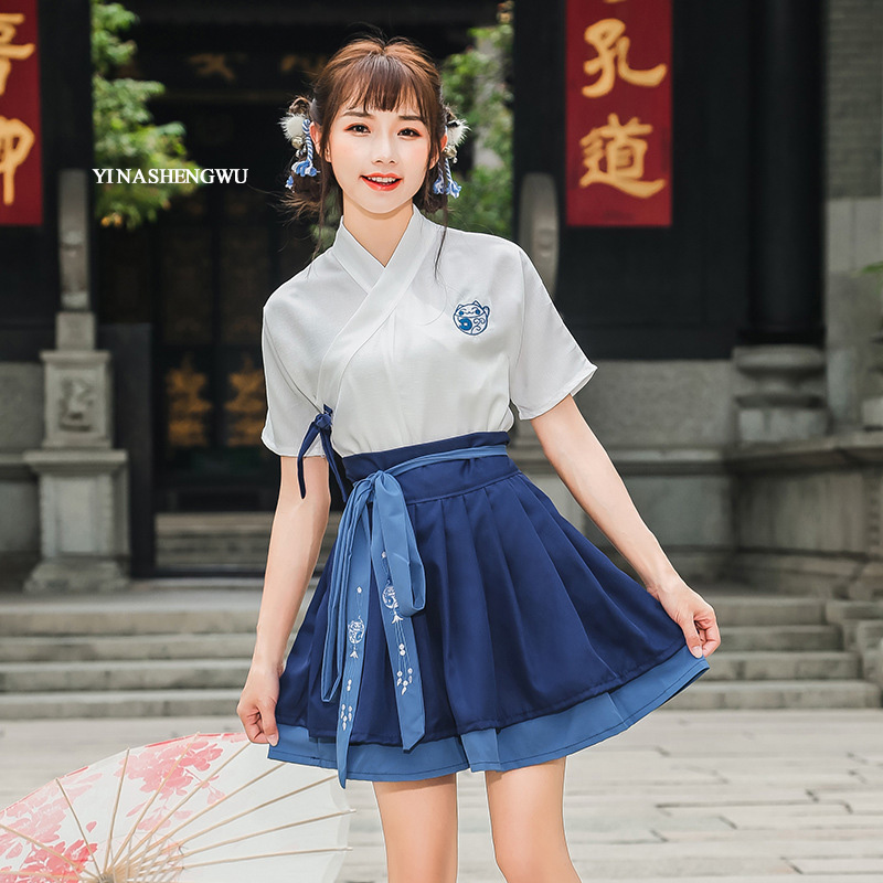 Hanfu Costume Dress Women Improved Hanfu Daily Short Sleeve Hanfu Embroidered Crossdresses Costumes Han Elements Student Set 9