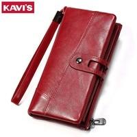 KAVIS Wallet Genuine Leather Women Purse Clutch Coin Purse Long Walet Portomonee Clamp For Money Bag