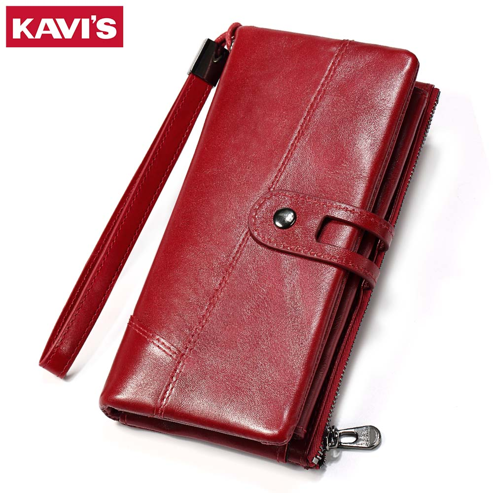 KAVIS Wallet Genuine Leather Women Purse Clutch Coin Purse Long Walet Portomonee Clamp for Money Bag Handy Strap card holder kavis 2017 fashion genuine leather women wallet female walet lady magic vallet money bag clutch handy for girls rfid coin purse