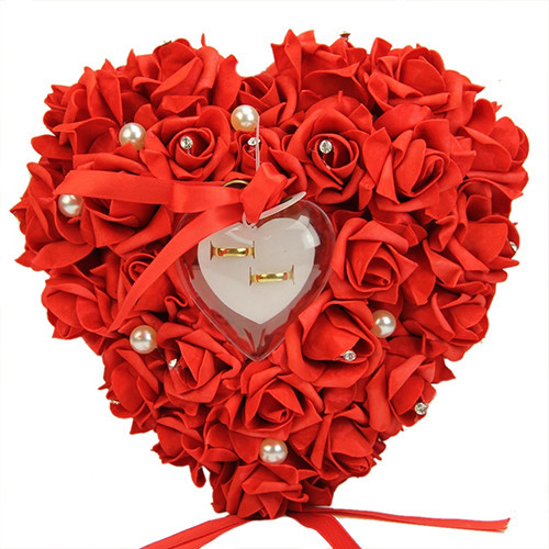 Romantic Rose Ribbon Heart Shaped Ring Box Wedding Gift Jewelry Ring Pillow Wedding Decoration Heart Romantic Ring Box Fashion
