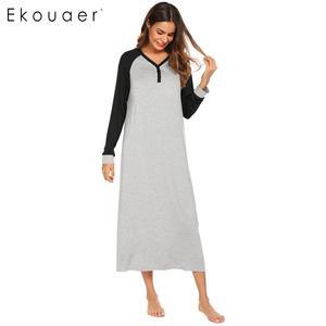 Image 3 - Ekouaer Lange Nacht Kleid Chemise Nachthemd Nachtwäsche Frauen Casual Langarm Patchwork V ausschnitt Sleep Nachtwäsche Plus Größe