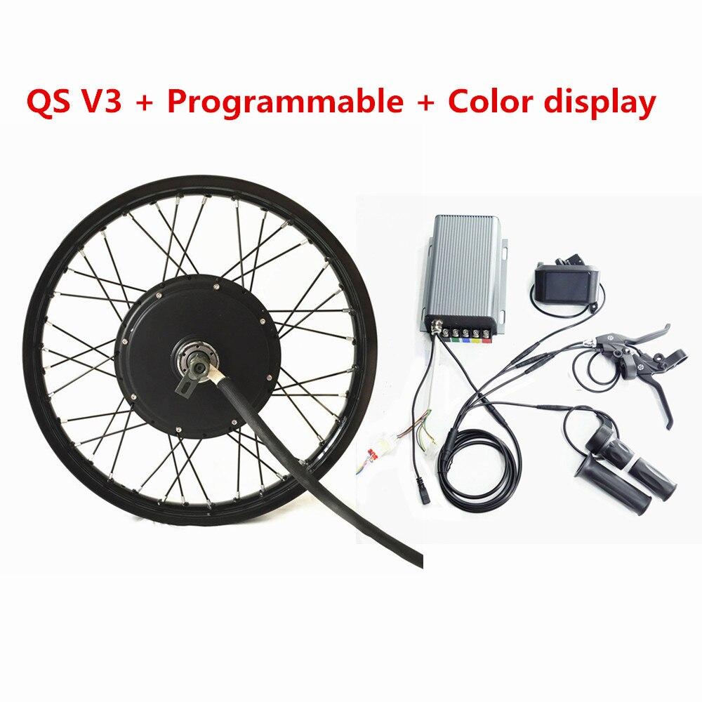Affichage couleur TFT Programmable QS V3 Ebike 72v 5kw roue arrière Kit moteur de vélo électrique 72V 5000W Kit de Conversion de vélo électrique