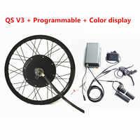 Programmierbare TFT Farbe Display QS V3 Ebike 72v 5kw Hinten Rad Elektrische Fahrrad Motor Kit 72V 5000W elektrische Bike Conversion Kit