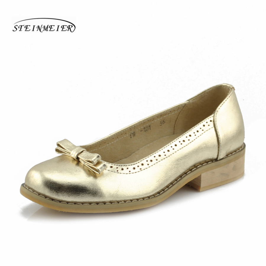 women flat summer casual oxford gold shoes 100% genuine cowskin leather bow flat round toe handmade retro brogue silver shoes-in Women's Flats from Shoes    1