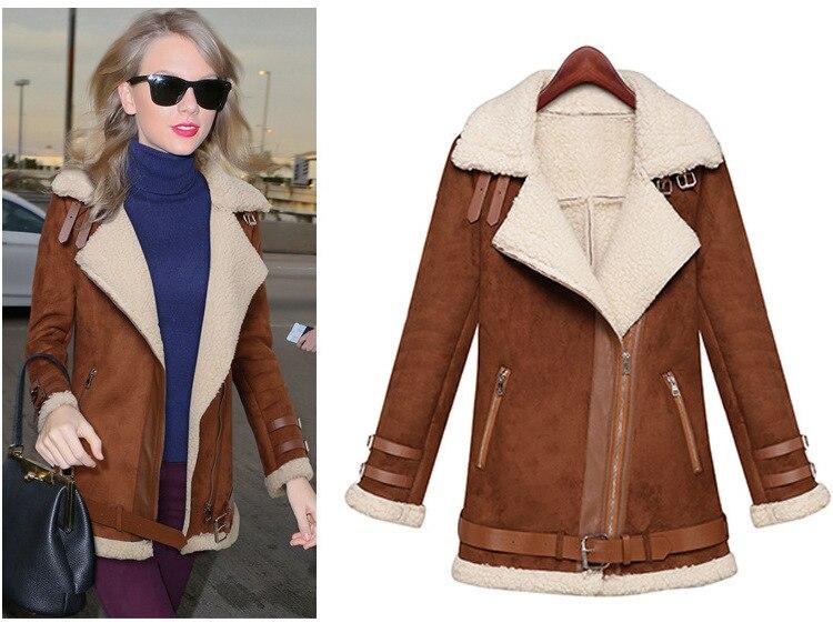 Winter Woman   Suede   Jackets Long Designer Shearling Coats Biker Warm Turn Collar Vintage Overcoat Brown Size S-Xl