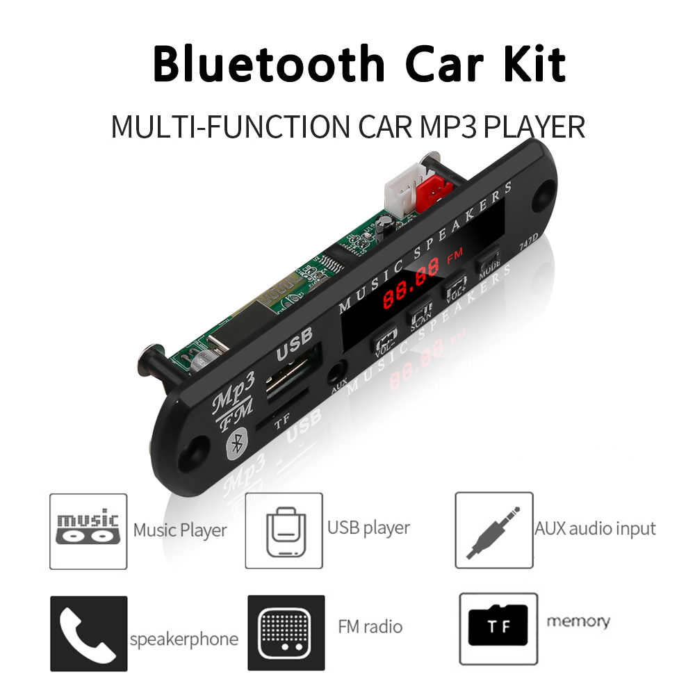 KEBIDU DC 12V Automobile Auto Bluetooth MP3 WMA FM AUX Scheda di Decodifica Piastra Modulo Audio Carta di TF USB Radio auto MP3 Altoparlante Record