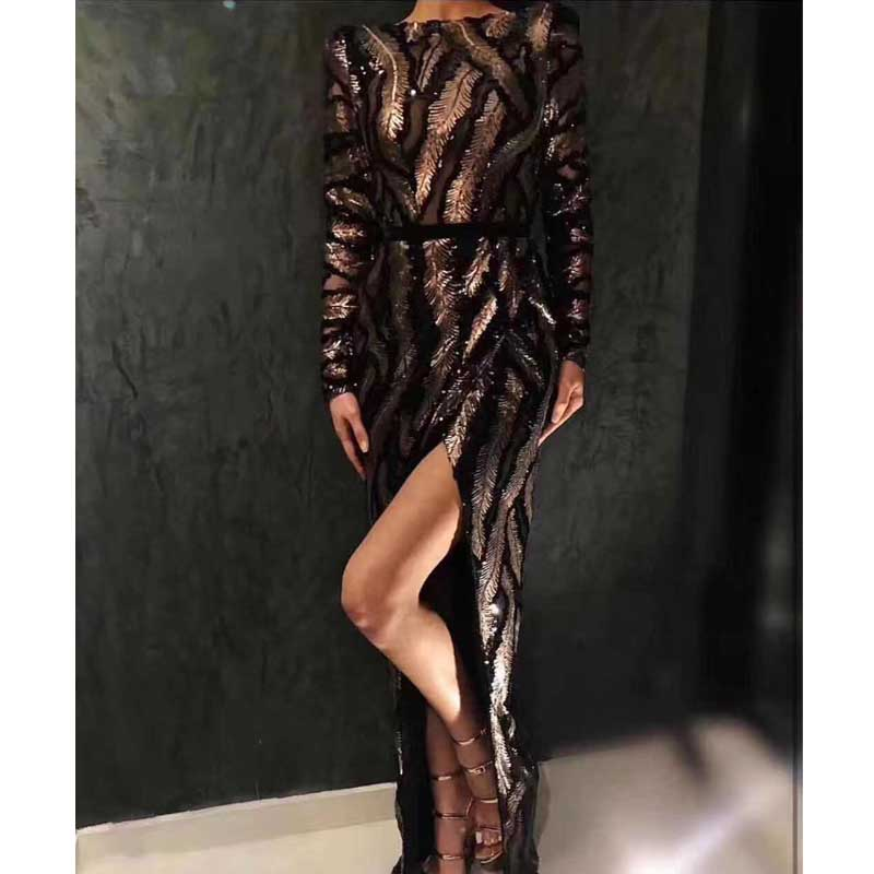 Wholesale 2019 new dress Black mesh long sleeve Gold sequins Fashion Slim Celebrity leisure Cocktail party