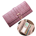 New Arrival Women Wallet PU Leather Simple Plaid Hsap Wallets Ladies Long Fashion Clutch 3 Folds Coin Purse Card & ID Holder