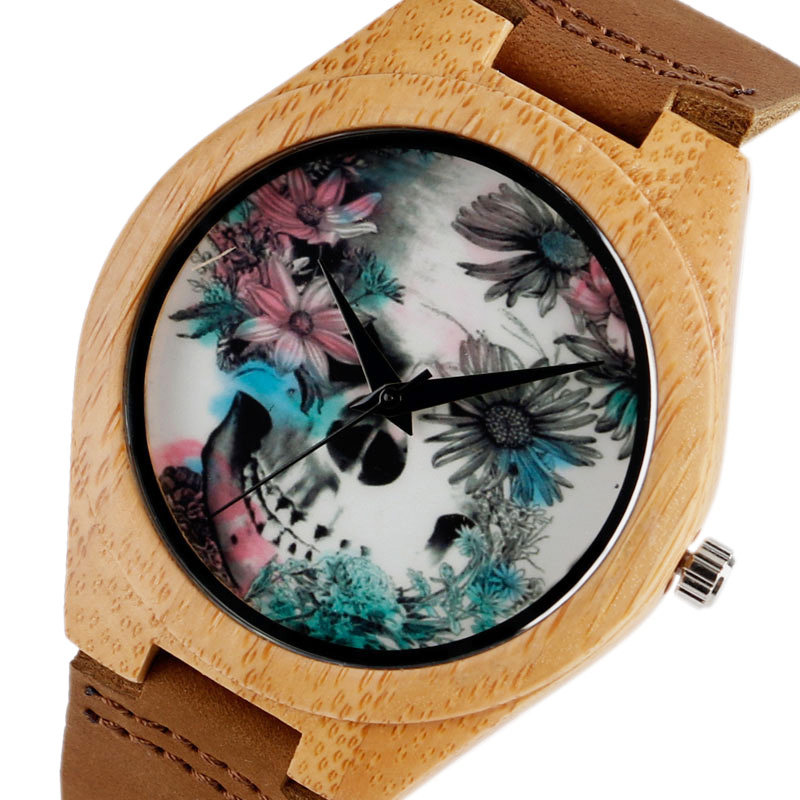 Kvinnor Klockor Armband Bambu Klocka Ladies Cool Design Blomma Skull Wooden Handgjorda Real Leather Band Casual Nature Wood Clock