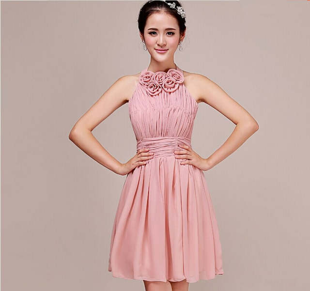 Dusty Pink Bridesmaid Dresses Halter Pleat Cheap Custom made Mix style  Bridesmaid Dresses Prom Party Dress 55d152c558f6